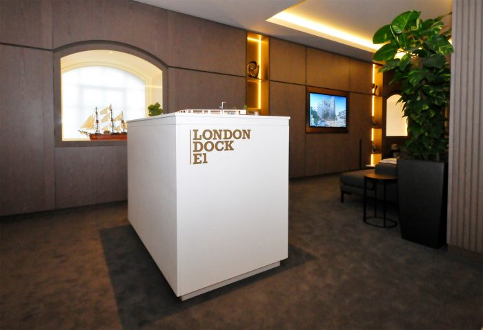 The model stand at the London Dock E1 marketing suite, created and installed by Octink