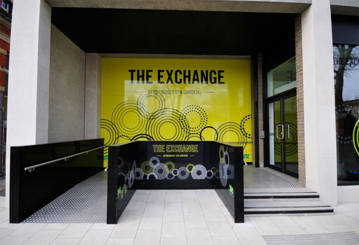 Exterior branding and signage at The Exchange Marketing Suite in Bermondsey