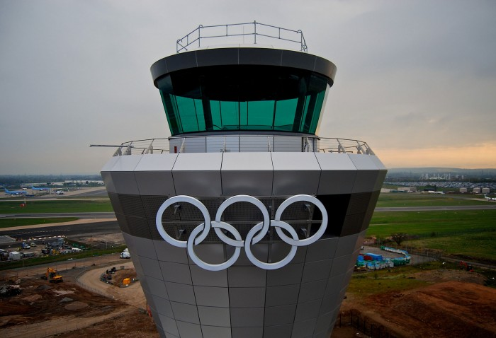 Olympic Rings branding up and ready to go at Heathrow