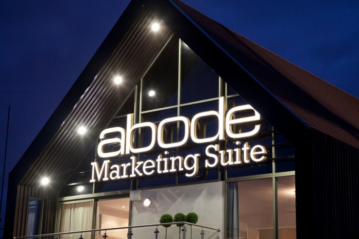 Illuminated Marketing Suites at Night