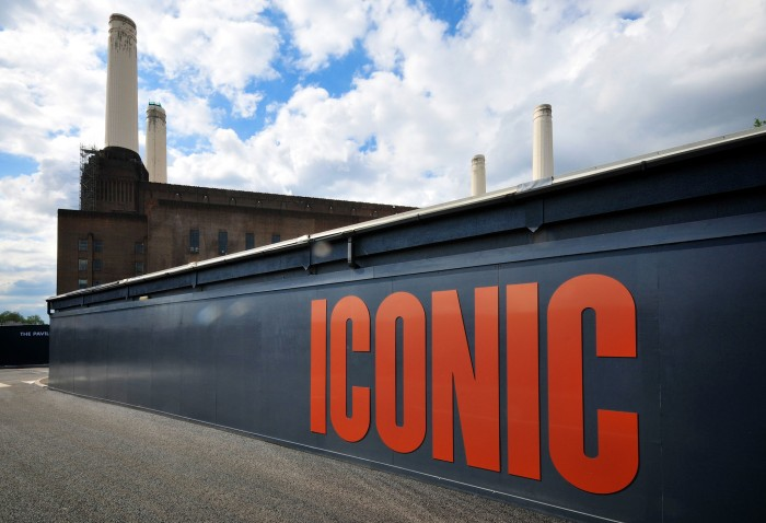 Iconic built up letters on the hoarding for battersea power station