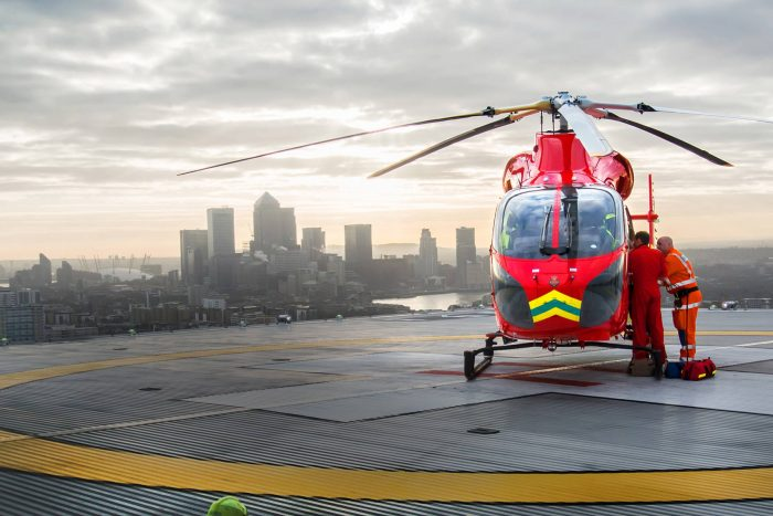 An Air Ambulance infront of the London skyline