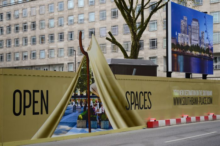 Custom speciality hoarding for Southbank Place created and installed by Octink