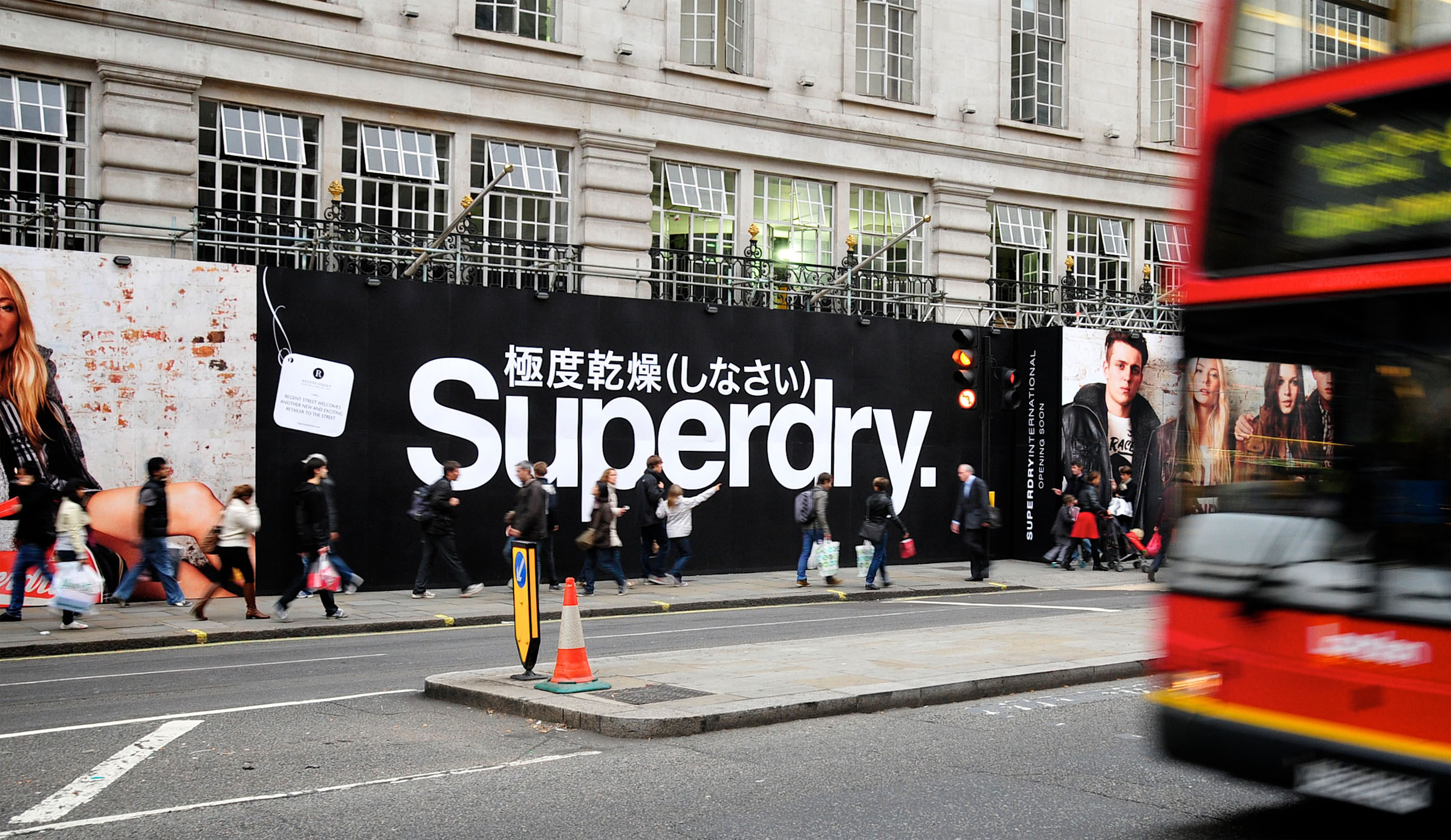 Disruption hoarding for Superdry in London's Regent Street