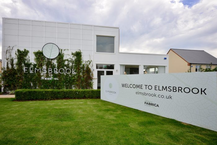 Exterior of the Elmsbrook marketing suite, created and installed by Octink