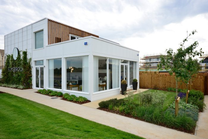 Exterior shot of the Elmsbrook Marketing Suite, created and installed by Octink