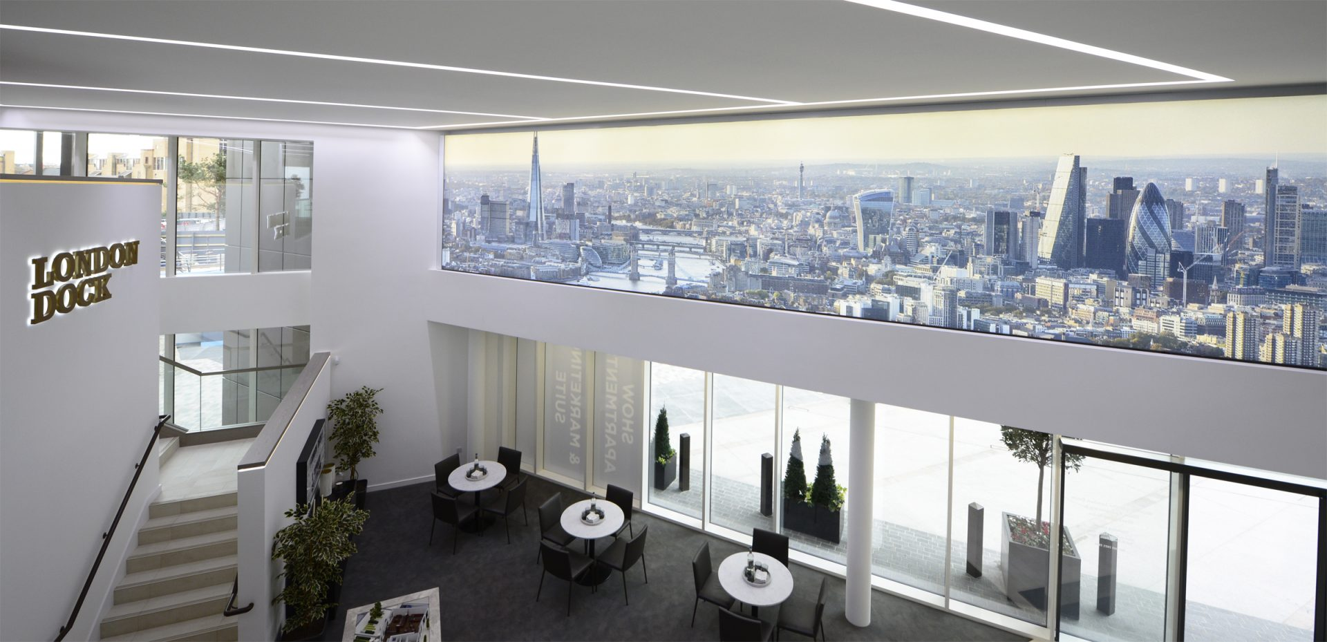 Branded Interiors of the London Dock Marketing Suite, created and installed by Octink