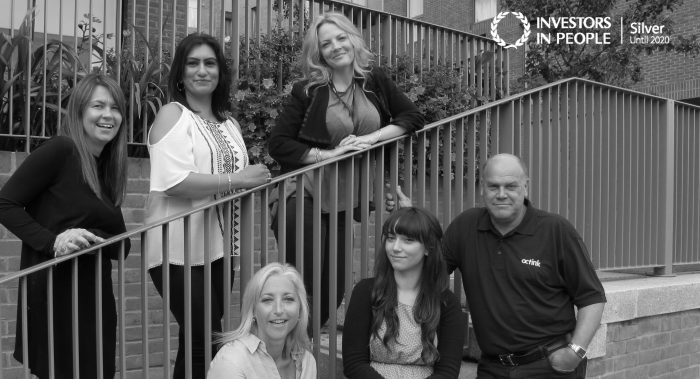 The Taylor Wimpey team at Octink in black and white