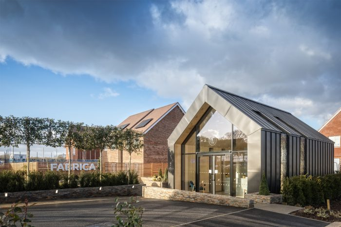 Exterior view of single storey Westvale Park marketing suite built by Octink for FABRICA