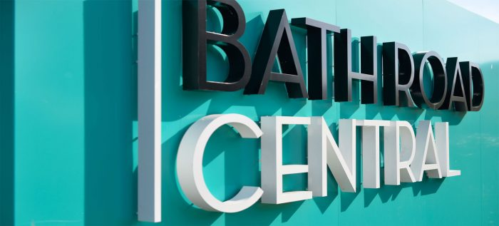 Bath Road Central blue hoarding with 3D Lettering, created and installed by Octink