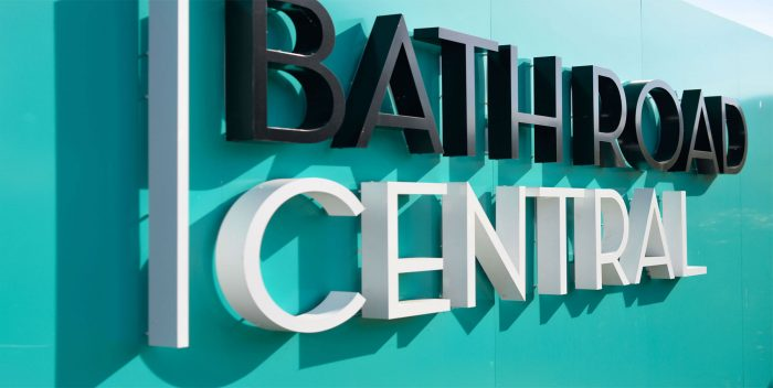 3D letters on a blue hoarding for Bath Road Central, by Octink