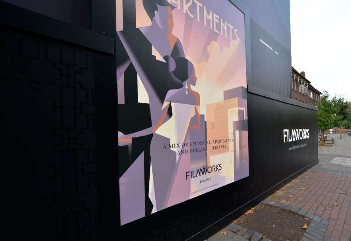 Lightbox imagery on a site hoarding for St George by Octink
