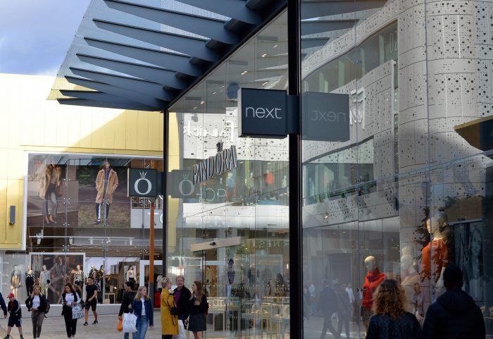 Projecting retail signs at The Lexicon shopping outlet in Bracknell by Octink