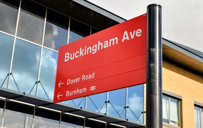 Way-finding signage on the Slough Trading Estate. Design, fabrication and installation by Octink.