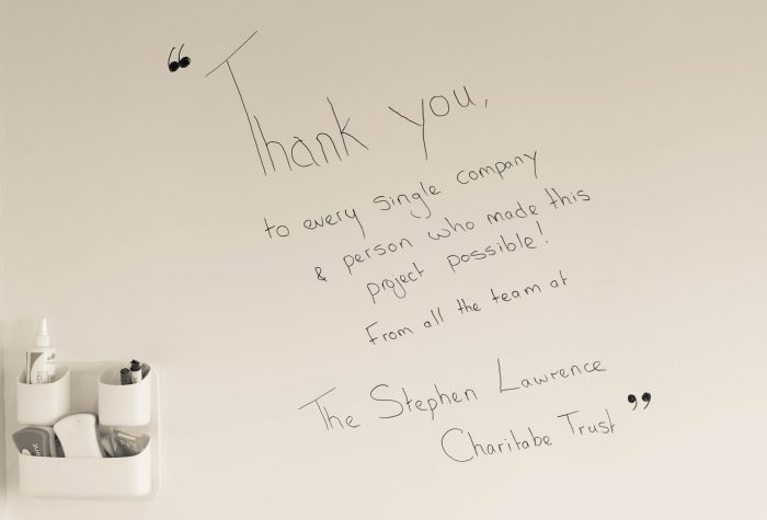Image shows a 'Thank you' message to companies involved in the refurbishment of the Your Space hub from The Stephen Lawrence Charitable Trust.