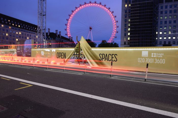 Image shows Southbank Place perimeter branding advertising hoarding and signage scheme by Octink