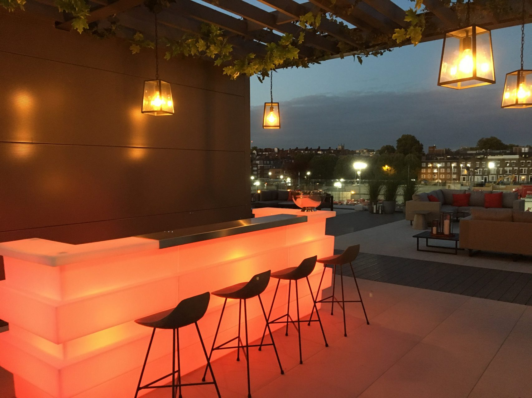 Roof terrace bar area at the Postmark Marketing Suite designed and built by Octink