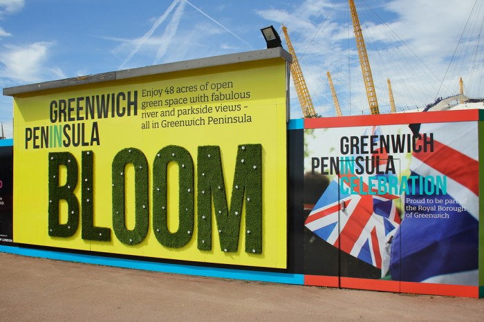 Greenwich Peninsula hoarding with bespoke finishes