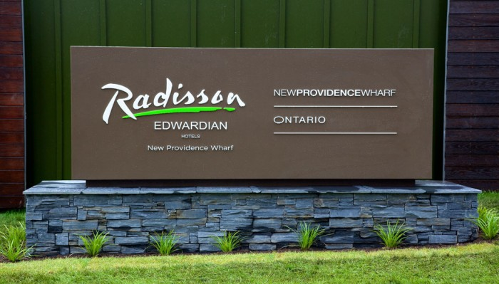 Built up letters on a monolith for Radisson
