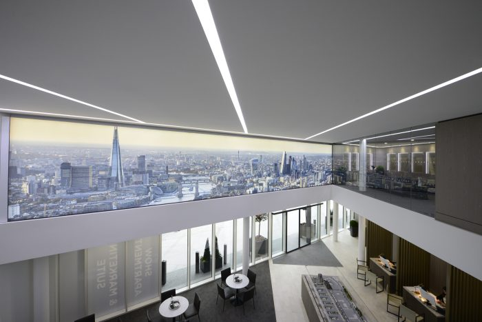 Interior shot of the London Dock marketing suite