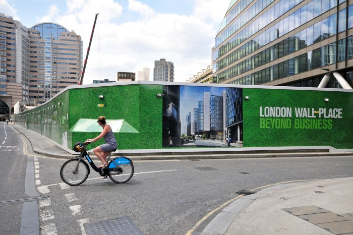 Advertising hoarding at London Wall Place. Printed, risk management and installation by Octink.