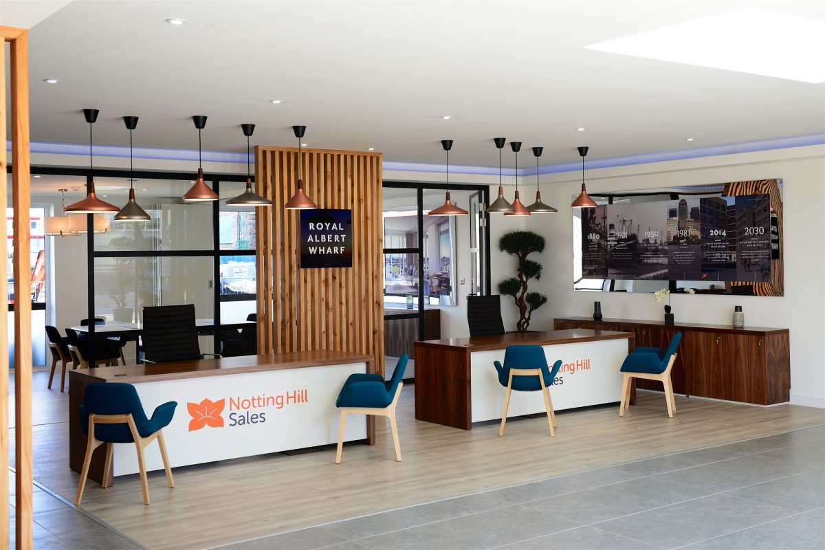 Marketing Suite interior at Royal Albert Wharf, created and installed by Octink