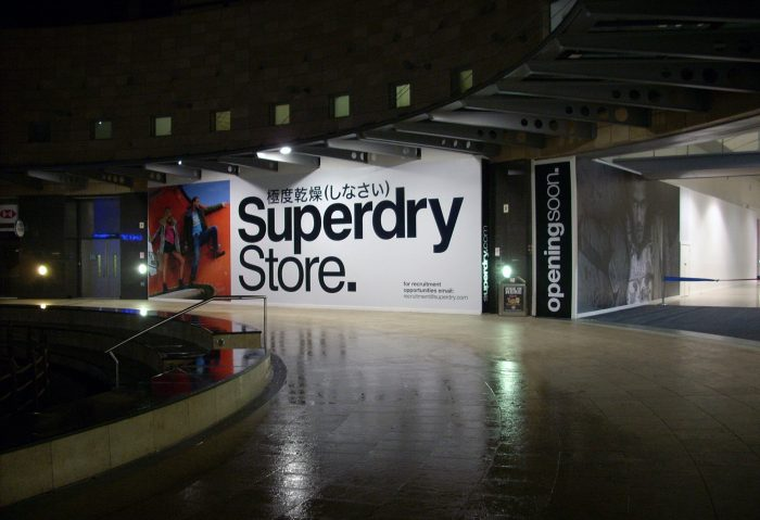 Superdry display signage and branding printed and installed by Octink