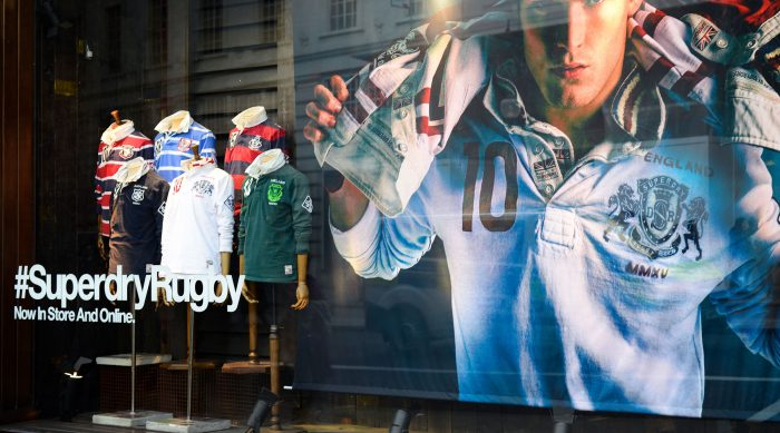 Superdry activation in a window display, created and installed by Octink