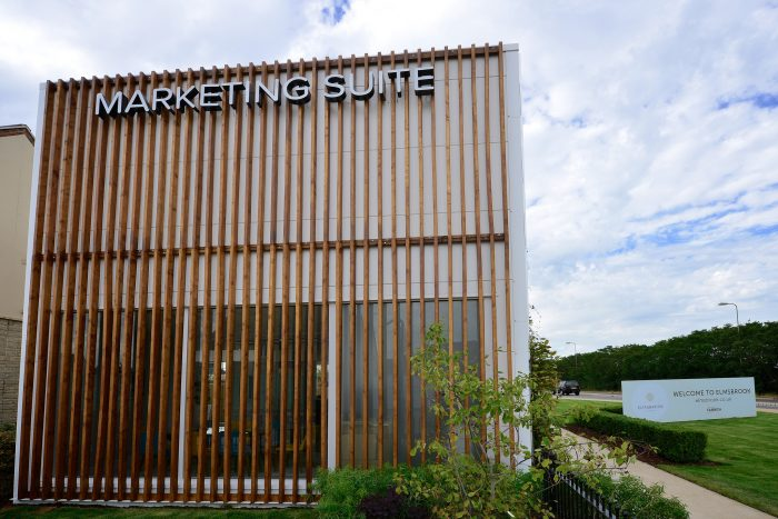 Exterior shot of Elmsbrook marketing suite in Bicester, created and installed by Octink