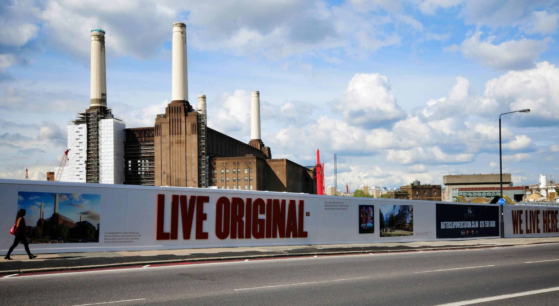 Live Original in 3D letters on a hoarding by Battersea Power Station, created and installed by Octink