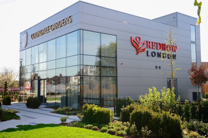 The exterior of Colindale Gardens Marketing Suite for Redrow, created and installed by Octink