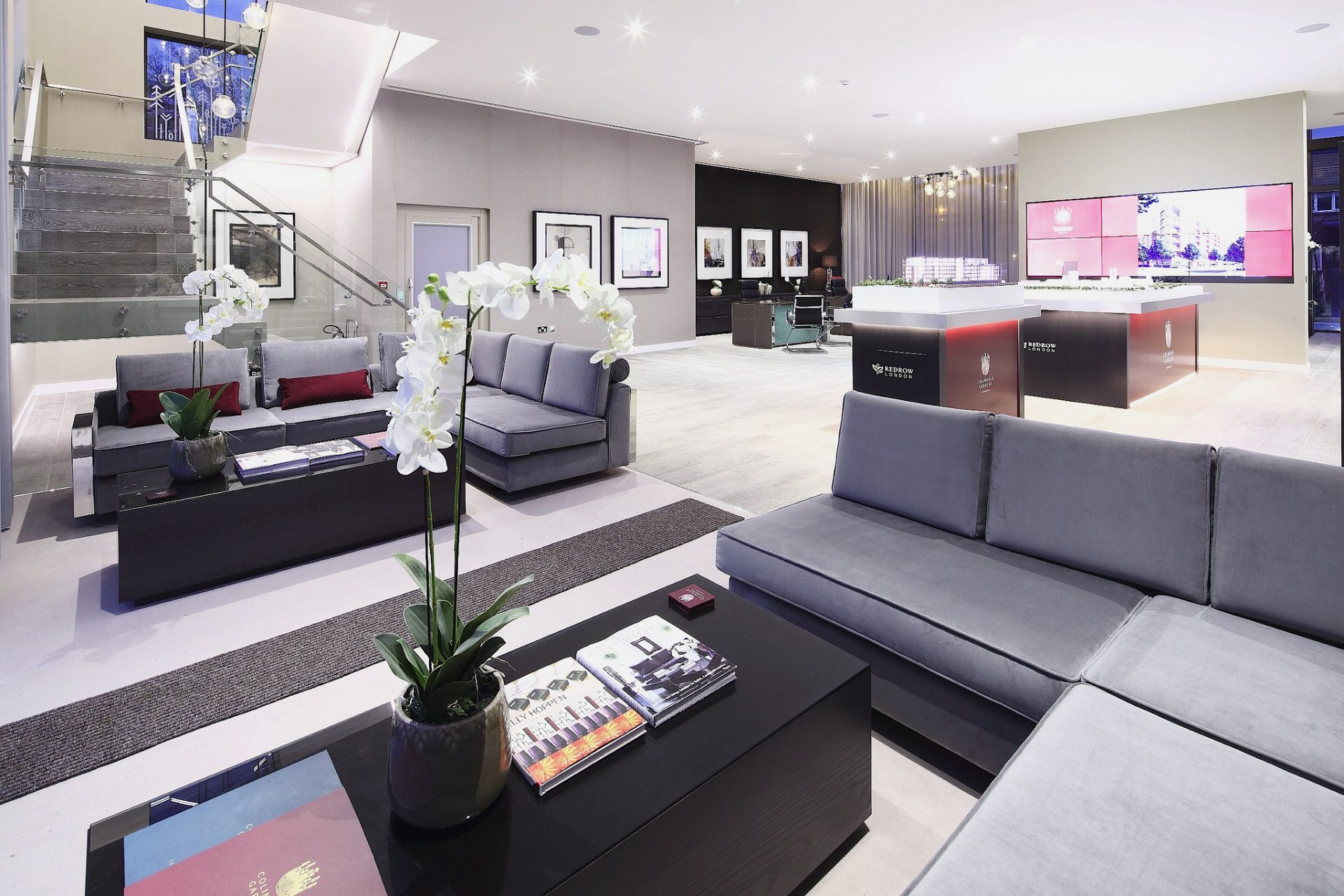 The interior of the Colindale Gardens Marketing Suite, created and installed by Octink