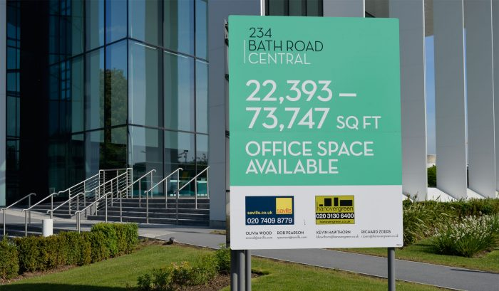 wayfinding signage Totem advertising office space for Bath Road Central, created and installed by Octink