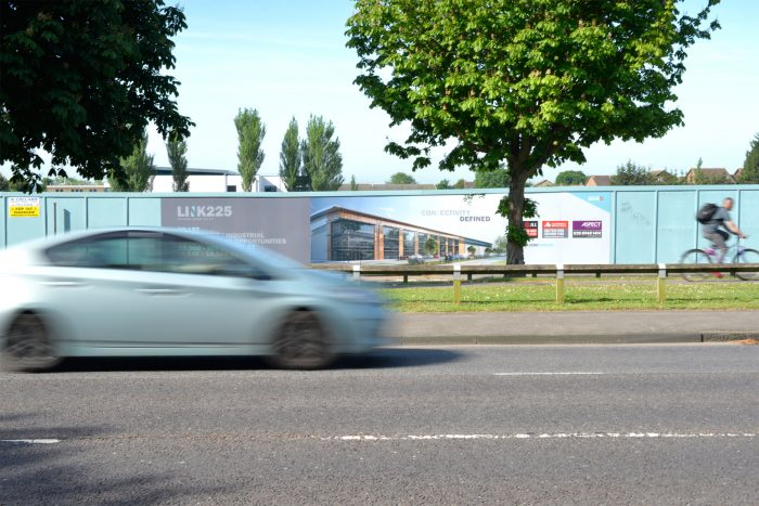 Hoarding for Segro featuring printed advertising, created and installed by Octink