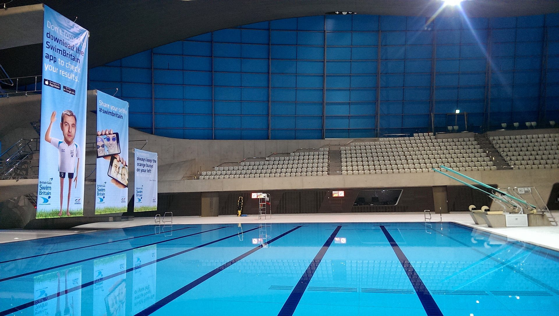 Branded hanging banners for SwimBritain Aquatic Centre by Octink