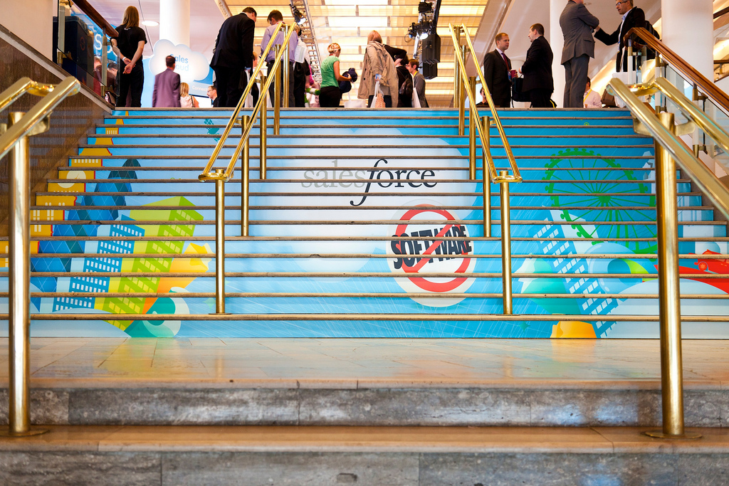 Event branding with stair strip prints at Cloudforce London by Octink
