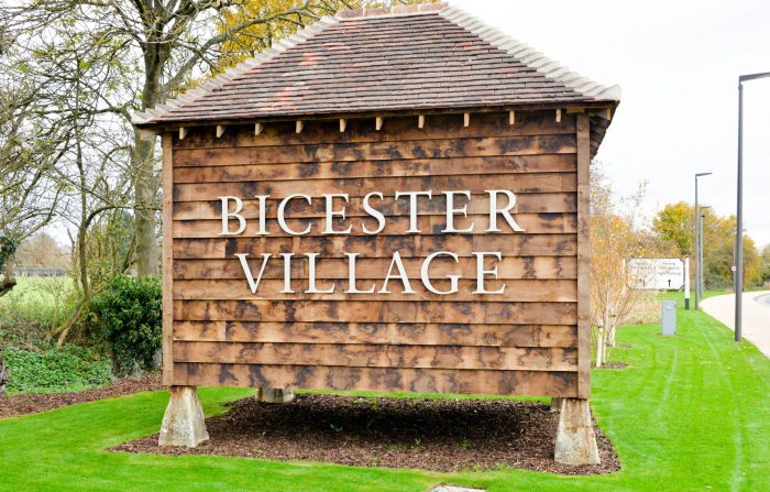 Bicester Village signage built by Octink featuring aluminium fret-cut letters