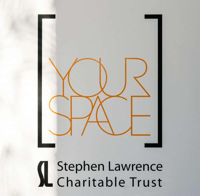 Yourspace and Stephen Lawrence Charitable Trust logos applied in window vinyl