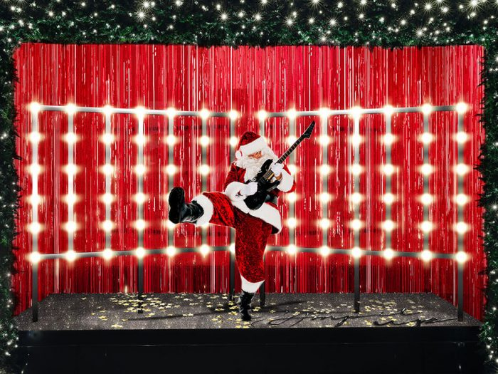 Selfridges Christmas window display 2018, featuring rock n' roll santa.