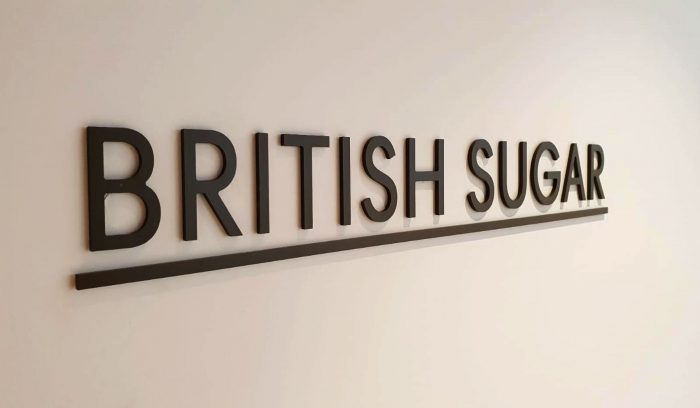 British Sugar cut letters for interior signage manifestation