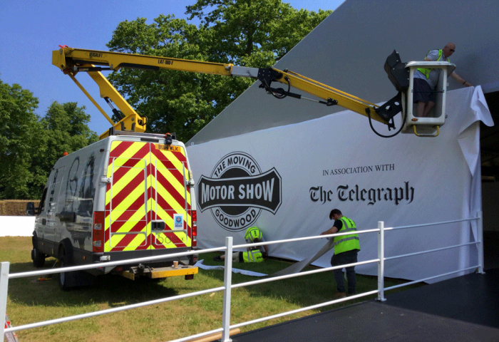 Event Planning - Signage Installation by our installation team at Goodwood
