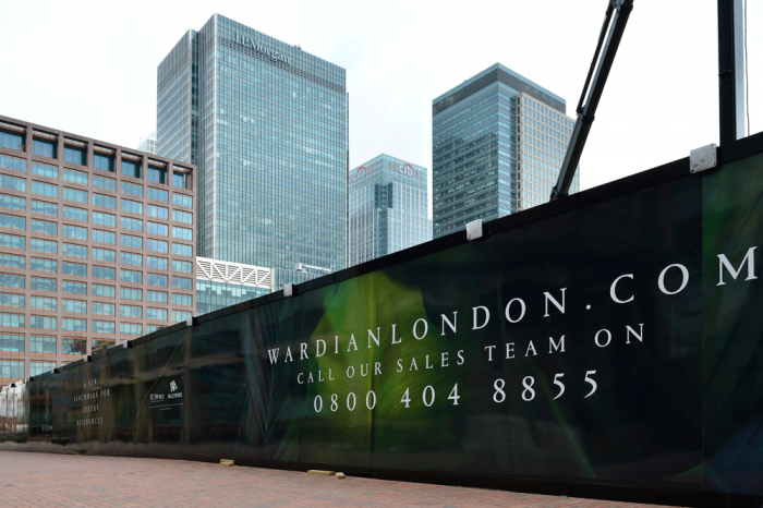 Frequently asked questions about hoardins usually involve materials. This 'Wardian London' hoarding is ACM