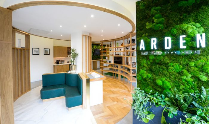 Living wall in Arden marketing suite with signage by Octink